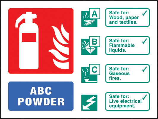 image about Printable Fire Extinguisher Signs named 11233D ABC powder extinguisher id Rigorous Plastic (100x150mm) Basic safety Indicator