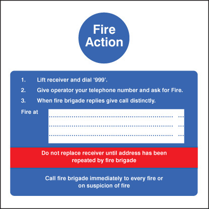 11406F Fire action - hotel Rigid Plastic (200x200mm) Safety Sign