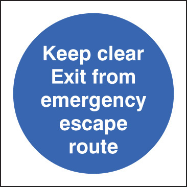 11604N Keep clear exit from emergency escape route Rigid Plastic (400x400mm) Safety Sign