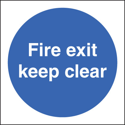 11606B Fire exit keep clear Rigid Plastic (80x80mm) Safety Sign