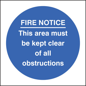 11613F Fire notice this area must be kept clear of obstructions Rigid Plastic (200x200mm)