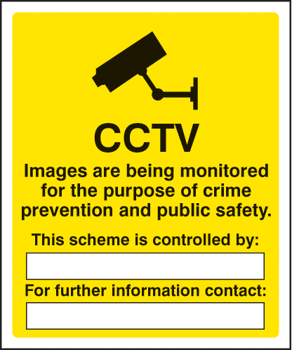 11713H CCTV images being monitored for the purpose of crime Rigid Plastic (300x250mm) Safety Sign
