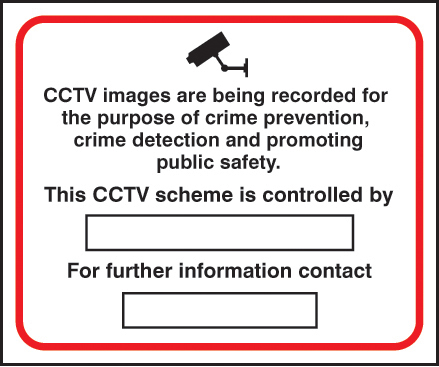 11719H CCTV crime prevention & public safety Rigid Plastic (300x250mm) Safety Sign