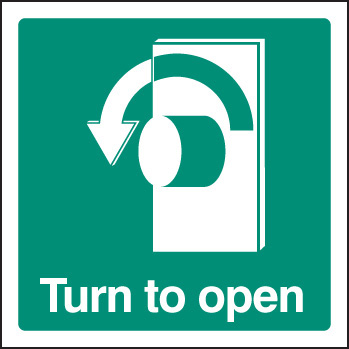 12034F Turn to open - left Rigid Plastic (200x200mm) Safety Sign