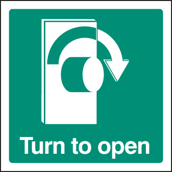 12037U Turn to open - right Rigid Plastic (100x100mm) Safety Sign