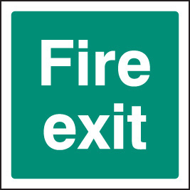 12041F Fire exit Rigid Plastic (200x200mm) Safety Sign