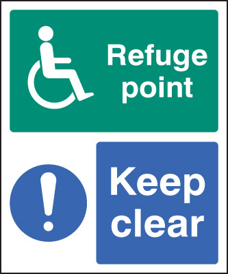 12096H Refuge point keep clear Rigid Plastic (300x250mm) Safety Sign