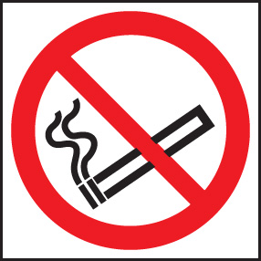 13017B No smoking symbol Rigid Plastic (80x80mm) Safety Sign