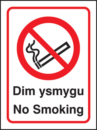 13025E Welsh no smoking Rigid Plastic (200x150mm) Safety Sign