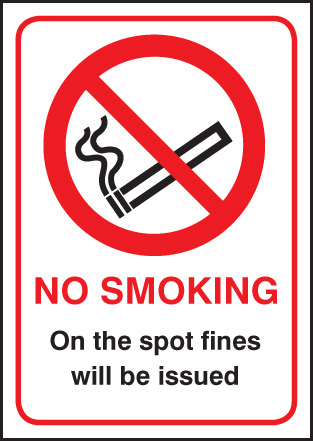 13027E No smoking on the spot fines will be issued Rigid Plastic (200x150mm) Safety Sign