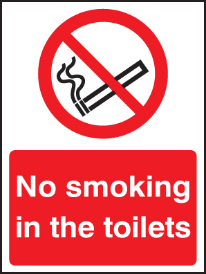 13080E No smoking in the toilets Rigid Plastic (200x150mm) Safety Sign
