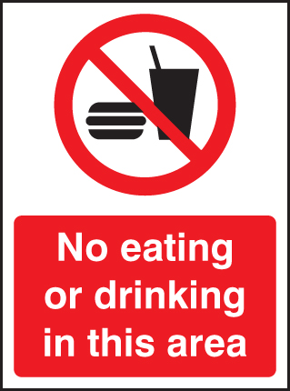 13232E No eating or drinking in this area Rigid Plastic (200x150mm) Safety Sign