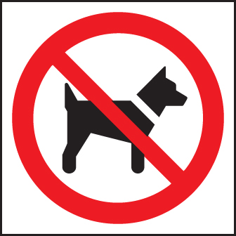 13602N No dogs (symbol) Rigid Plastic (400x400mm) Safety Sign