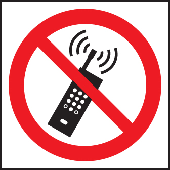 13613F No mobile phones (symbol) Rigid Plastic (200x200mm) Safety Sign