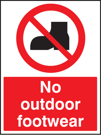graphic relating to No Shoes Sign Printable known as 13618E No outside shoes Stringent Plastic (200x150mm) Stability Signal