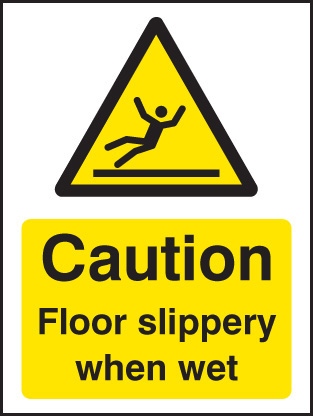 14287A Caution floor slippery when wet Rigid Plastic (100x75mm) Safety Sign
