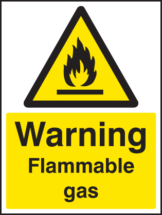 14421K Flammable gas Rigid Plastic (400x300mm) Safety Sign
