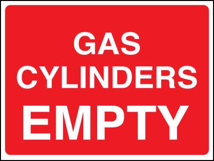 14440E Gas cylinder empty Rigid Plastic (200x150mm) Safety Sign