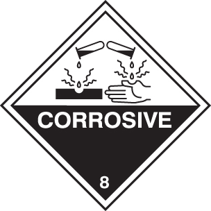 14477U Corrosive Rigid Plastic (100x100mm) Safety Sign