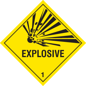 14478F Explosive Rigid Plastic (200x200mm) Safety Sign