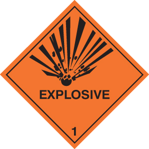 14501F Explosive diamond Rigid Plastic (200x200mm) Safety Sign