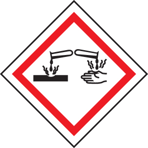 14544U GHS Label - Corrosive Rigid Plastic (100x100mm) Safety Sign