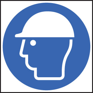 15015F Safety helmet symbol Rigid Plastic (200x200mm) Safety Sign
