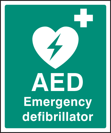 picture about Printable First Aid Sign named 16053H AED Crisis defibrillator Stringent Plastic (300x250mm) Basic safety Indication