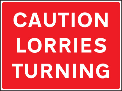 16438Q Caution lorries turning Rigid Plastic (600x450mm) Safety Sign