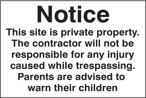 16440P Notice this site is private property etc Rigid Plastic (600x400mm) Safety Sign