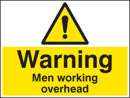 16451Q Warning men working overhead Rigid Plastic (600x450mm) Safety Sign