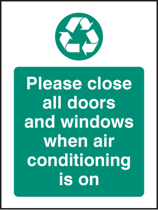 16628A Please close all doors and windows when aircon is on Rigid Plastic (100x75mm) Safety Sign