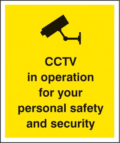21712H CCTV in operation for personal safety and security Self Adhesive Vinyl (300x250mm)