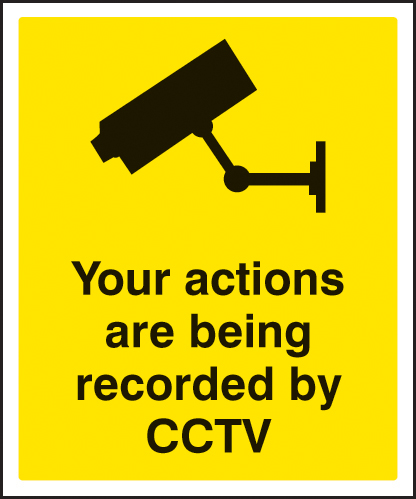 21740H Your actions are being recorded by CCTV Self Adhesive Vinyl (300x250mm) Safety Sign