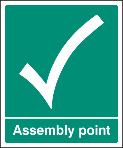 22054Q Assembly point Self Adhesive Vinyl (600x450mm) Safety Sign