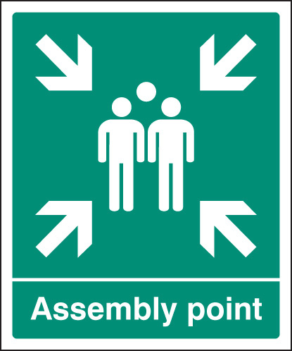 22055Q Assembly point - EEC Self Adhesive Vinyl (600x450mm) Safety Sign