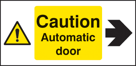 24131X Caution automatic door right Self Adhesive Vinyl (200x100mm) Safety Sign