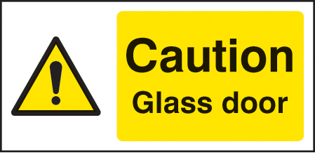 24132X Caution glass door Self Adhesive Vinyl (200x100mm) Safety Sign