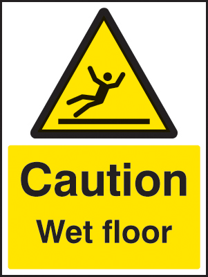 24223E Caution wet floor Self Adhesive Vinyl (200x150mm) Safety Sign