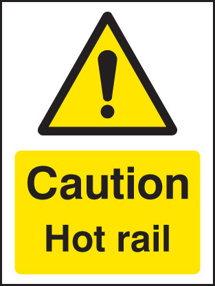 24286A Caution hot rail Self Adhesive Vinyl (100x75mm) Safety Sign