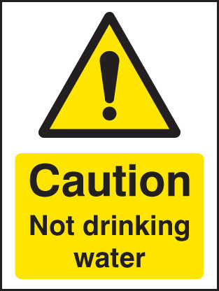 24288A Caution not drinking water Self Adhesive Vinyl (100x75mm) Safety Sign