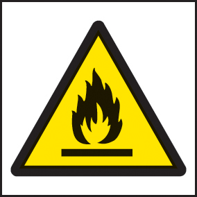 24414F Flammable symbol Self Adhesive Vinyl (200x200mm) Safety Sign