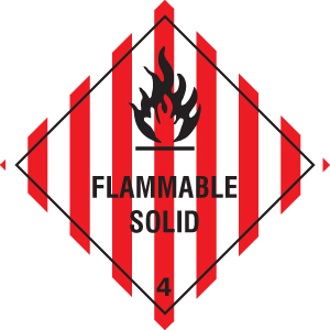 24432U Flammable solid Self Adhesive Vinyl (100x100mm) Safety Sign