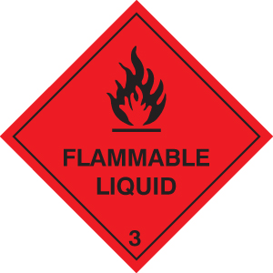 24433F Flammable liquid Self Adhesive Vinyl (200x200mm) Safety Sign