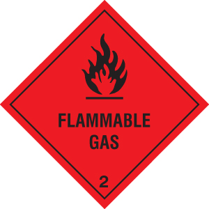 24434F Flammable gas Self Adhesive Vinyl (200x200mm) Safety Sign