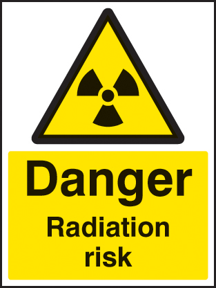 24462E Danger radiation risk Self Adhesive Vinyl (200x150mm) Safety Sign