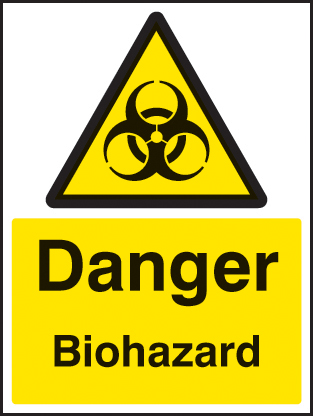 24536E Danger biohazard Self Adhesive Vinyl (200x150mm) Safety Sign