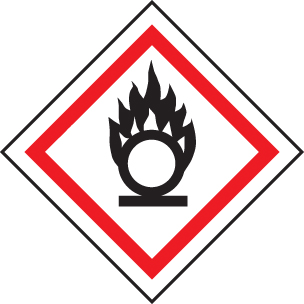 24540U Oxidiser GHS label Self Adhesive Vinyl (100x100mm) Safety Sign