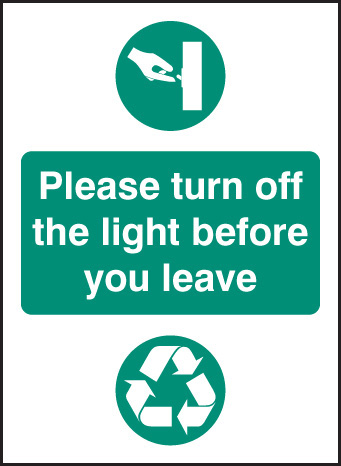 26620A Please turn off light before you leave Self Adhesive Vinyl (100x75mm) Safety Sign