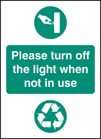 26621A Please turn off light when not in use Self Adhesive Vinyl (100x75mm) Safety Sign